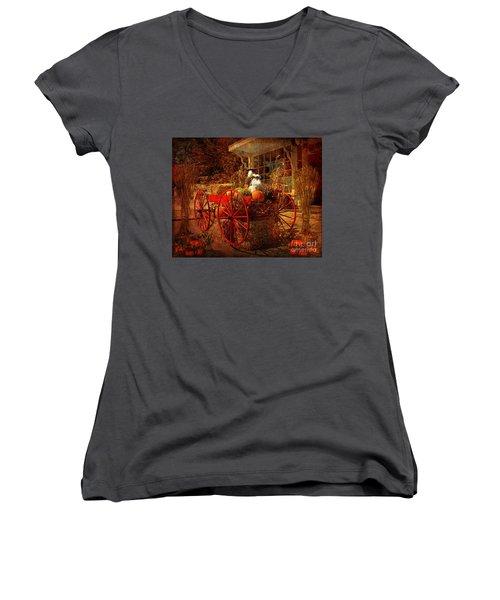 Autumn Harvest At Brewster General Women's V-Neck T-Shirt (Junior Cut) by Lianne Schneider