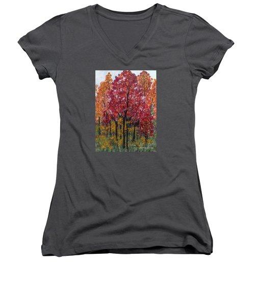 Autumn In Nashville Women's V-Neck T-Shirt (Junior Cut) by Holly Carmichael
