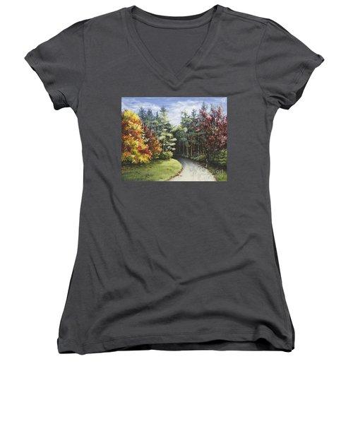 Autumn In The Arboretum Women's V-Neck