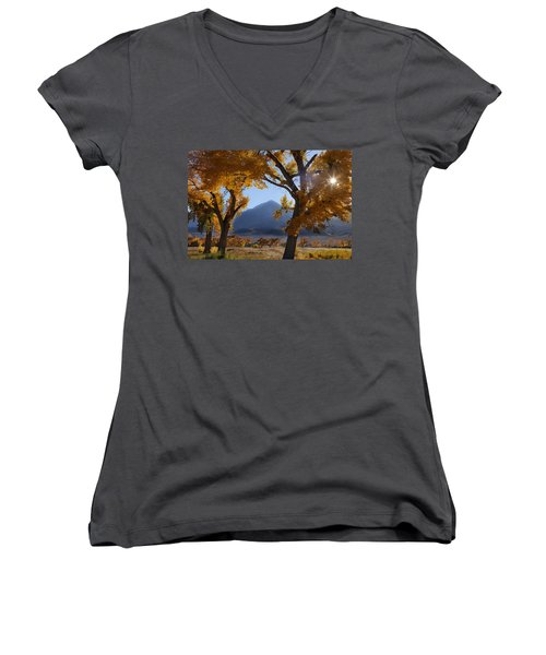 Autumn In The Mountains Women's V-Neck T-Shirt (Junior Cut) by Andrew Soundarajan