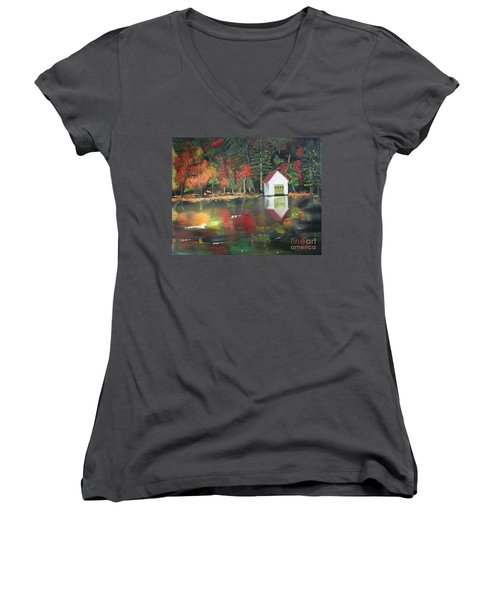 Women's V-Neck T-Shirt (Junior Cut) featuring the painting Autumn - Lake - Reflecton by Jan Dappen