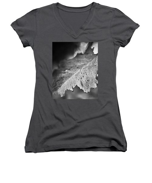 Autumn Leaves B And W Women's V-Neck