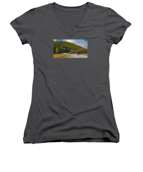 Autumn Motorcycle Rider / Orange Women's V-Neck T-Shirt (Junior Cut) by Patti Deters