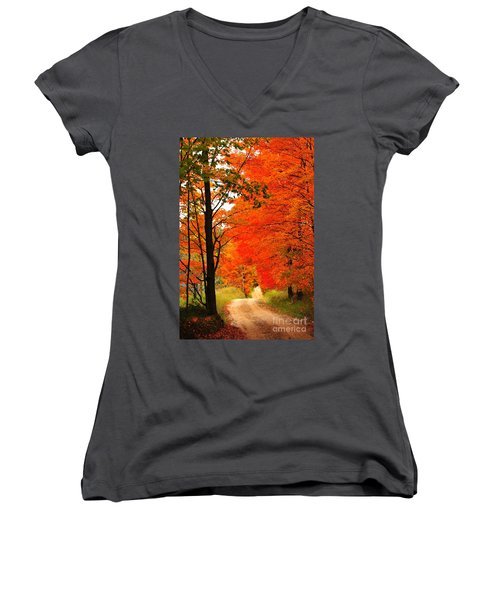 Autumn Orange 2 Women's V-Neck T-Shirt (Junior Cut) by Terri Gostola