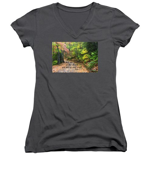 Autumn Path With Scripture Women's V-Neck (Athletic Fit)
