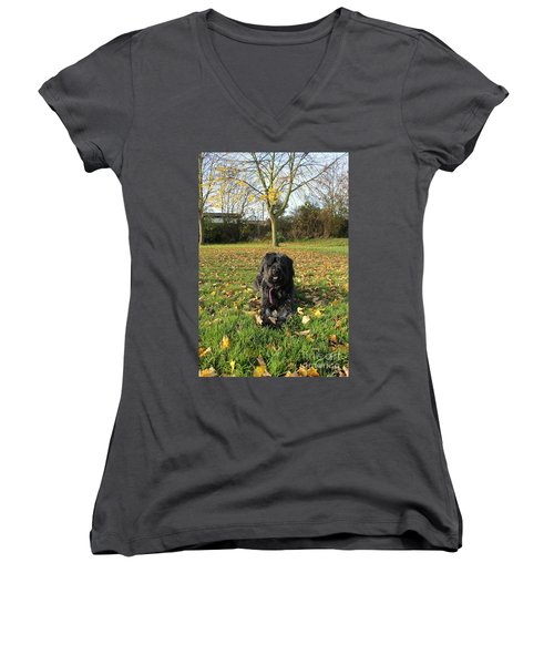 Women's V-Neck T-Shirt (Junior Cut) featuring the photograph Autumn Portrait by Vicki Spindler