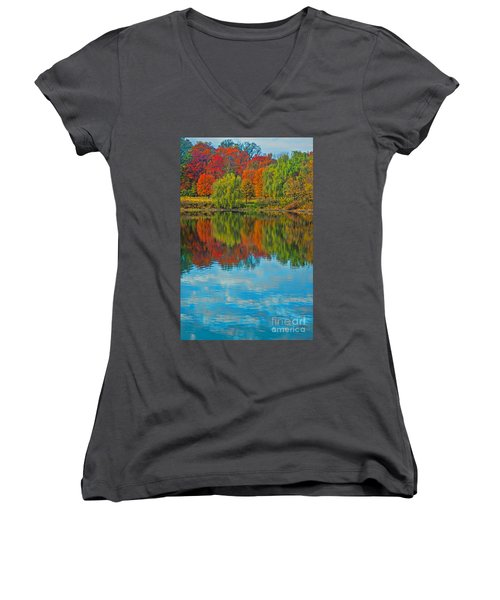 Autumn Reflection Women's V-Neck T-Shirt (Junior Cut) by Todd Breitling