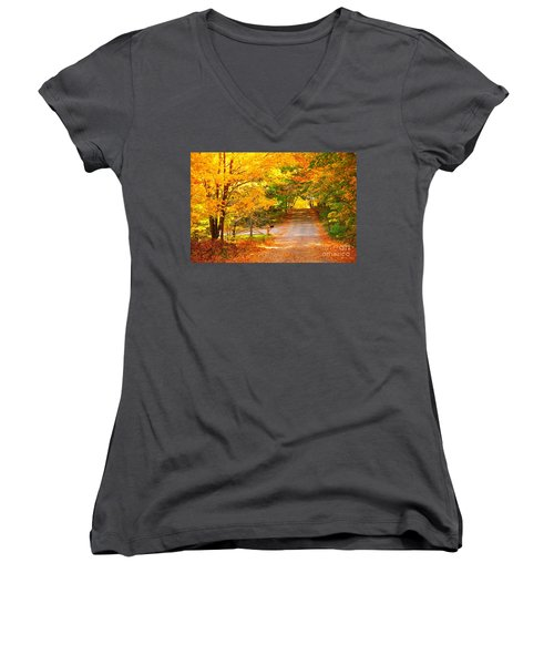 Autumn Road Home Women's V-Neck T-Shirt (Junior Cut) by Terri Gostola