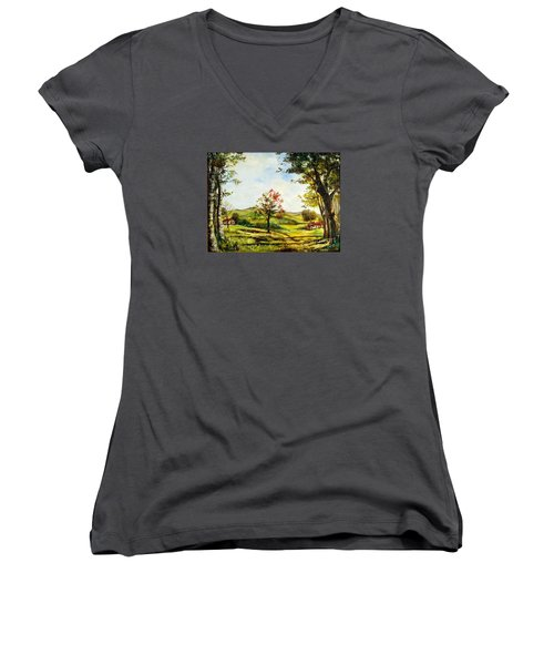 Women's V-Neck T-Shirt (Junior Cut) featuring the painting Autumn Road by Lee Piper