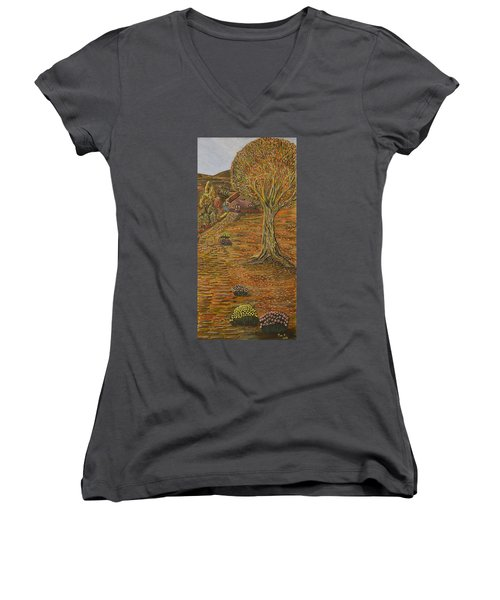 Autumn Sequence Women's V-Neck T-Shirt (Junior Cut) by Felicia Tica