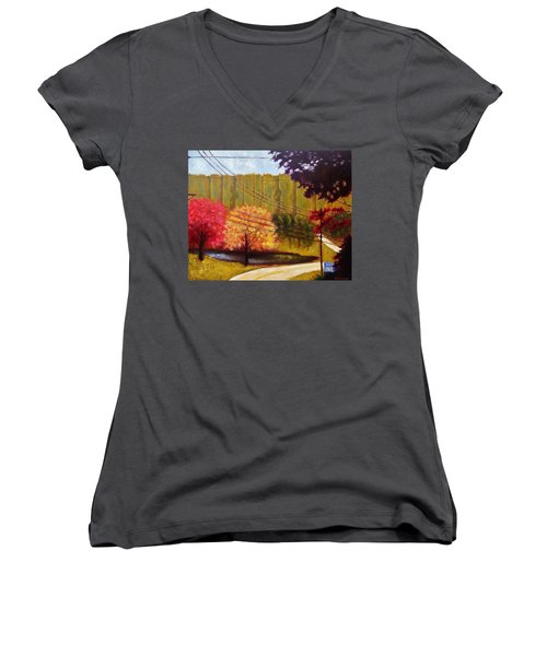 Autumn Slopes Women's V-Neck T-Shirt (Junior Cut) by Jason Williamson