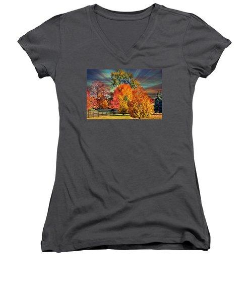 Autumn Splendor Women's V-Neck T-Shirt (Junior Cut) by Judy Palkimas