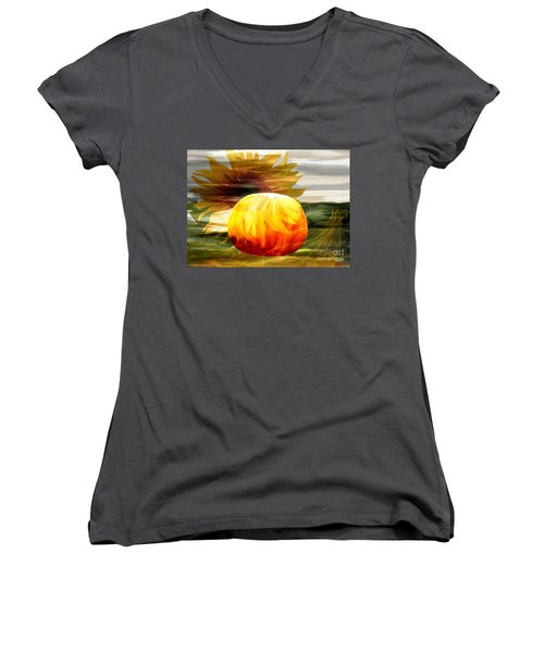 Autumn Sunflower And Pumpkin Women's V-Neck T-Shirt (Junior Cut) by Annie Zeno