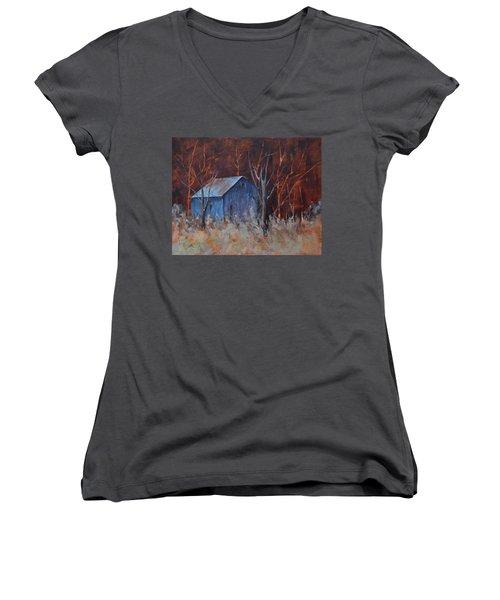 Autumn Surprise Women's V-Neck T-Shirt (Junior Cut) by Lee Beuther