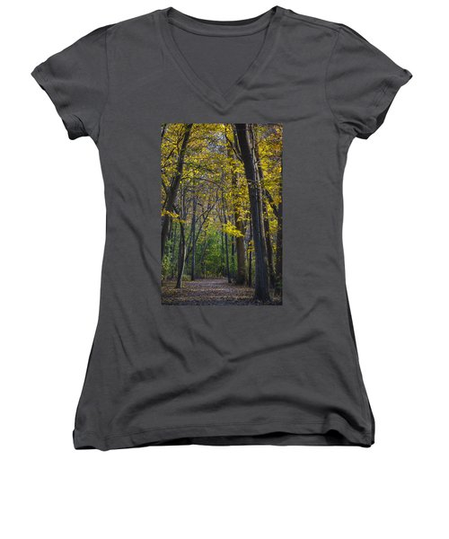 Women's V-Neck T-Shirt (Junior Cut) featuring the photograph Autumn Trees Alley by Sebastian Musial