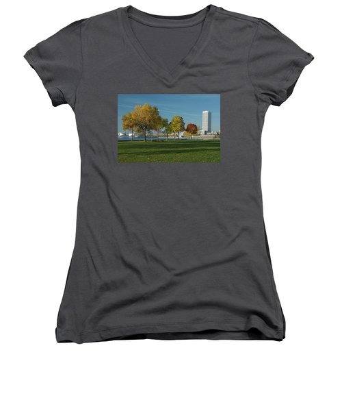 Women's V-Neck T-Shirt (Junior Cut) featuring the photograph Autumn Trees by Jonah  Anderson