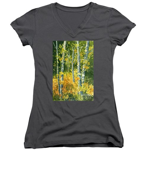 Autumn Woods Women's V-Neck T-Shirt (Junior Cut)
