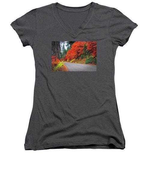Women's V-Neck T-Shirt (Junior Cut) featuring the photograph Autumn's Glory by Lynn Bauer