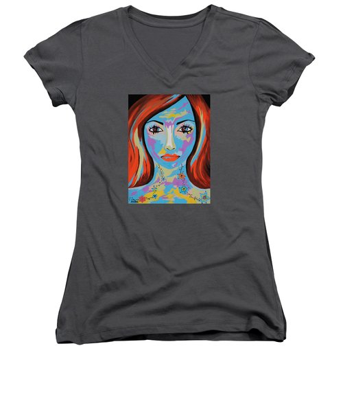 Women's V-Neck T-Shirt (Junior Cut) featuring the painting Avani by Kathleen Sartoris
