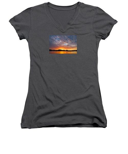 Awakening Women's V-Neck T-Shirt (Junior Cut) by Alice Cahill
