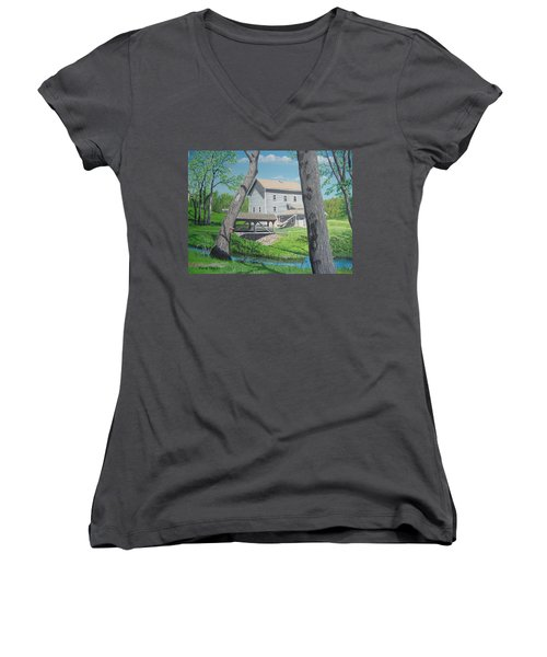 Award-winning Painting Of Beckman's Mill Women's V-Neck (Athletic Fit)