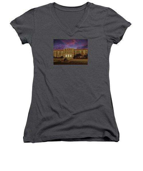 B C H S At Dusk Women's V-Neck T-Shirt (Junior Cut) by Charles Hite