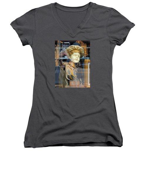Baby Face  Women's V-Neck T-Shirt (Junior Cut) by Marcia Lee Jones