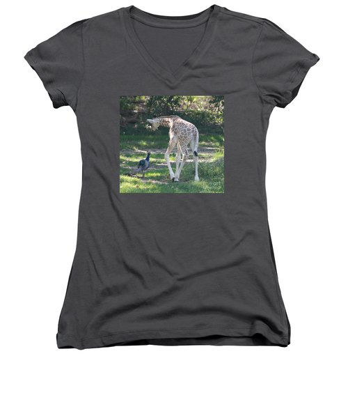 Baby Giraffe And Peacock Out For A Walk Women's V-Neck (Athletic Fit)