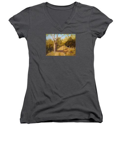 Back Road Women's V-Neck T-Shirt (Junior Cut) by Alan Lakin