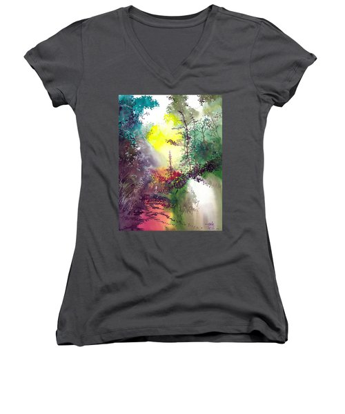 Back To Jungle Women's V-Neck T-Shirt (Junior Cut) by Anil Nene