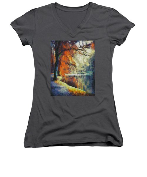 Women's V-Neck T-Shirt (Junior Cut) featuring the painting Back To Our Dreams by Joe Misrasi