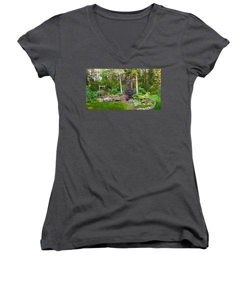 Backyard Garden In Loon Lake, Spokane Women's V-Neck T-Shirt (Junior Cut) by Panoramic Images