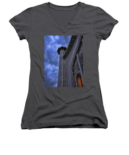 Women's V-Neck T-Shirt (Junior Cut) featuring the photograph Bahai Temple Detail At Dusk II by John Hansen