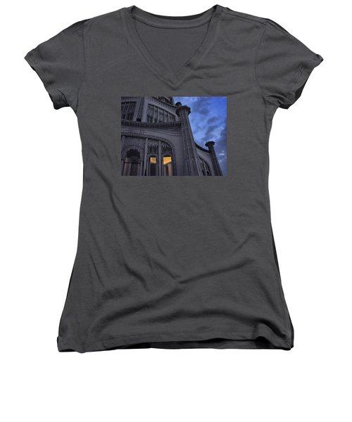 Women's V-Neck T-Shirt (Junior Cut) featuring the photograph Bahai Temple Detail At Dusk by John Hansen