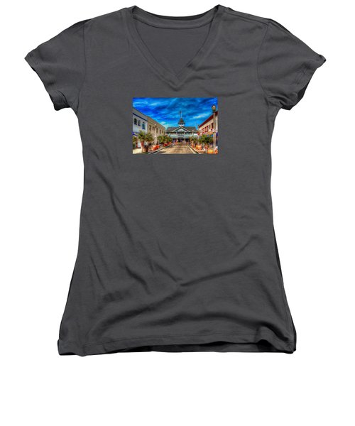 Balboa Pavilion Women's V-Neck T-Shirt (Junior Cut) by Jim Carrell