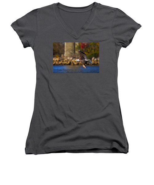 Bald Eagle In Flight Over Water Carrying A Fish Women's V-Neck (Athletic Fit)
