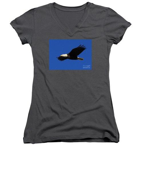Women's V-Neck T-Shirt (Junior Cut) featuring the photograph Bald Eagle Lock 14 by Paula Guttilla