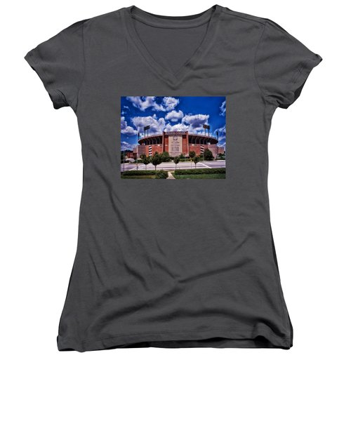 Baltimore Memorial Stadium 1960s Women's V-Neck T-Shirt (Junior Cut) by Mountain Dreams