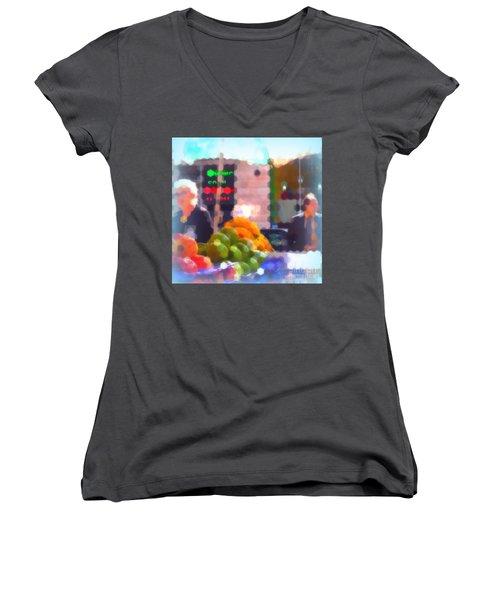 Women's V-Neck T-Shirt (Junior Cut) featuring the photograph Banana - Street Vendors Of New York City by Miriam Danar