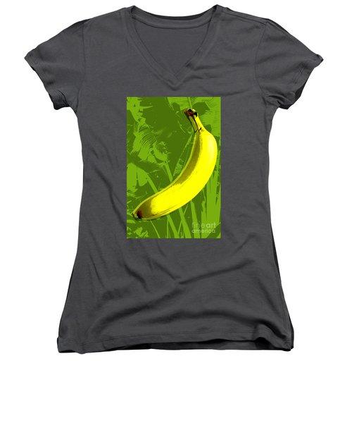 Banana Pop Art Women's V-Neck (Athletic Fit)