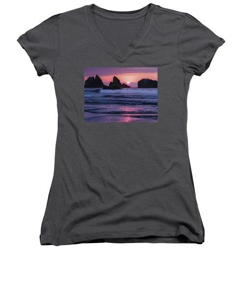Bandon Beach Sunset Women's V-Neck T-Shirt (Junior Cut) by Jean Noren