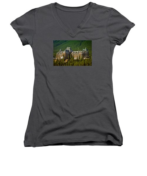 Women's V-Neck T-Shirt (Junior Cut) featuring the photograph Banff Springs Hotel by Richard Farrington