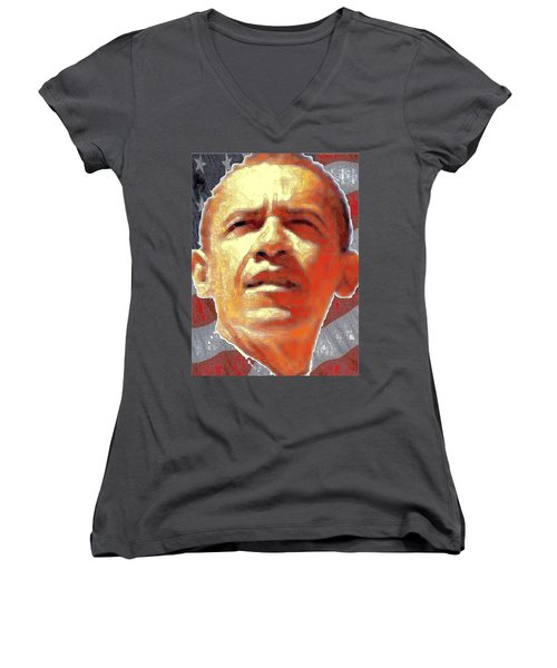 Barack Obama Portrait - American President 2008-2016 Women's V-Neck