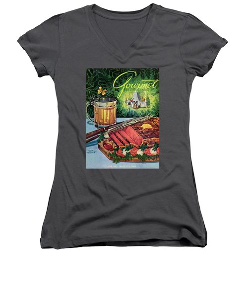 Barbeque Meat And A Mug Of Beer Women's V-Neck