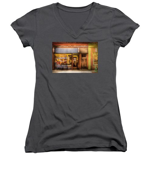 Barber - Towne Barber Shop Women's V-Neck T-Shirt (Junior Cut) by Mike Savad