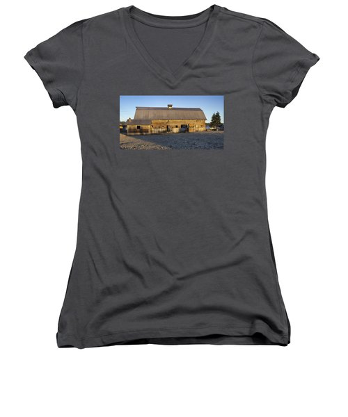 Barn In Rural Washington Women's V-Neck (Athletic Fit)