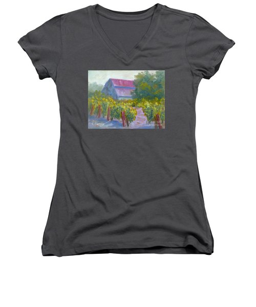 Barn In Vineyard Women's V-Neck