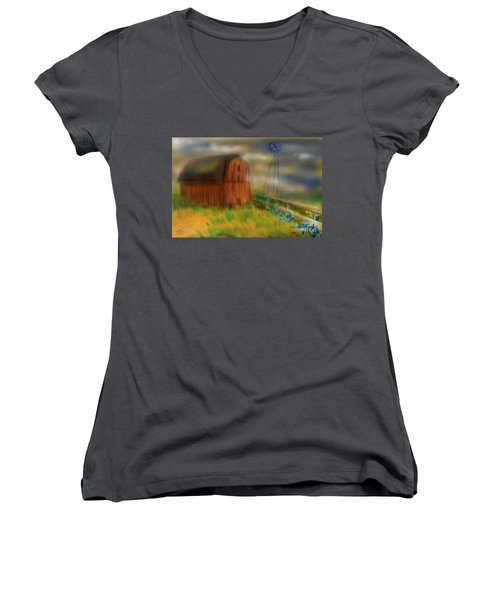 Women's V-Neck T-Shirt (Junior Cut) featuring the painting Barn by Marisela Mungia