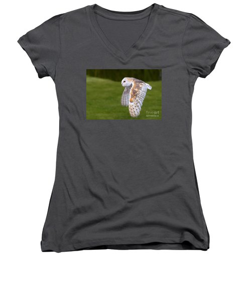 Women's V-Neck T-Shirt (Junior Cut) featuring the photograph Barn Owl In Flight by Nick  Biemans