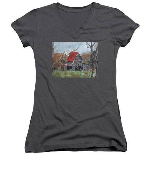 Women's V-Neck T-Shirt (Junior Cut) featuring the painting Barn - Red Roof - Autumn by Jan Dappen